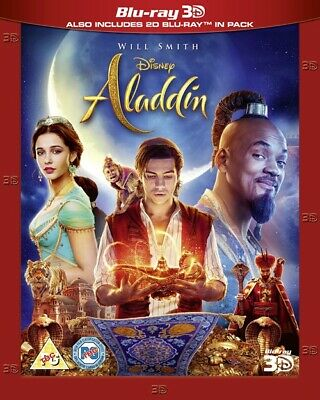 Disney Aladdin 3D AND 2D Live Action Will Smith BLU-RAY