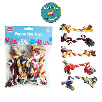 World of Pets Puppy Small Dog Rope Tug Toy Game Fun 5 Pack Various Colours
