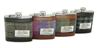 Authentic Harris Tweed 6oz  Hip Flask Stainless Steel In Various Colours
