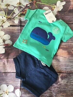NEXT Baby Boys Outfit Whale Top+Shorts First Size (3.4kg/7.8lbs) BNWT