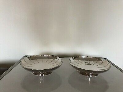 Beautiful Pair Of Footed Dishes With A Sectioned Style Top