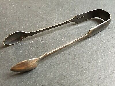 Pair Of Large Antique Silver Plated Sugar Or Ice Tongs / Nips Walker And Hall