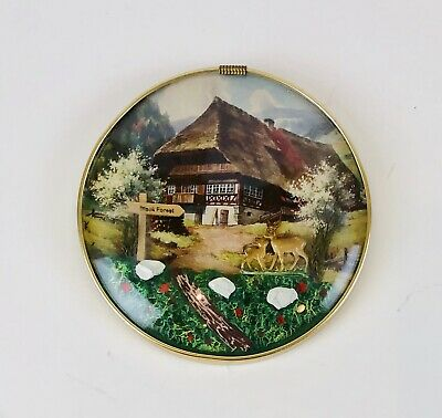 Vintage Round Convex Bubble Glass Picture Diorama Black Forest Chalet Deer 5""