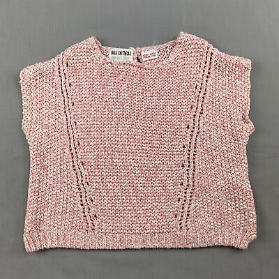 Girls size 0, Zara, pink knitted cotton sleeveless sweater / jumper, FUC