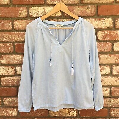 Boden Light Blue Cheese Cloth Cotton Tassle Blouse Size 2