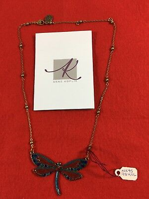 """Anne Koplik 16"""" Multi Colored Enamel Dragonfly Necklace Dancing With the Stars"""