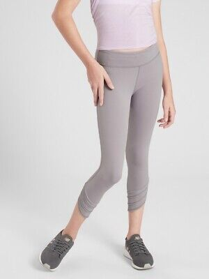 Athleta Girl XL 14  Meshin' Around Capri Tights Pants NWT Lilac Stone