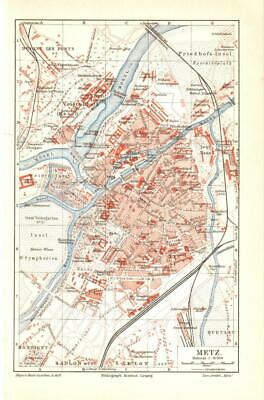 Antique map. FRANCE. CITY MAP OF METZ & SURROUNDINGS OF METZ. 1905