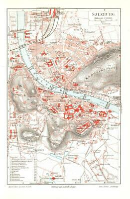 Antique map. AUSTRIA. CITY MAP OF SALZBURG. 1905