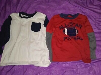 Lot Of 2 Boys Long Sleeved Shirts 5t Football Carter's Garanimals