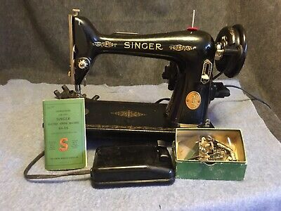 Super Clean Vtg Singer Sewing Machine Model 66-16 Orig Pedal Attachment Art Deco