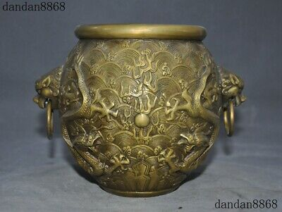 "8""Marked Chinese old dynasty bronze Dragon lion Head Statue Tank Crock Pot Jar"