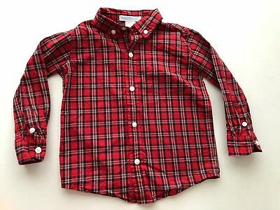 Janie and jack Red green & navy plaid long sleeve shirt button down sz 18-24 mo