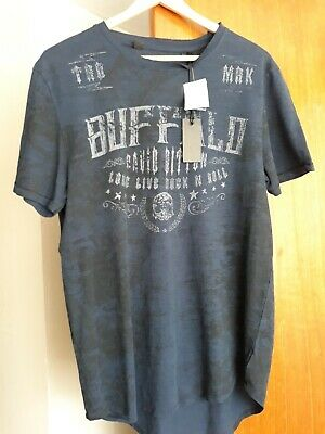 NWT Buffalo by David Bitton '' Rock n Roll'' Navy Blue T-shirt Size Medium