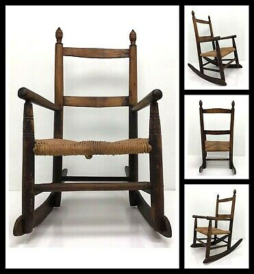 EARLY 1900'S VINTAGE ANTIQUE ROCKING CHAIR w/ Woven Seat For Doll Or Child