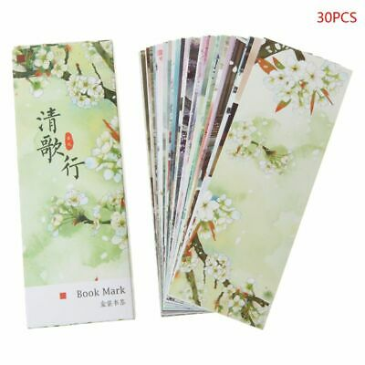 30pcs Chinese Style Creative Paper Bookmarks Painting Cards Retro Boxed Bookmark