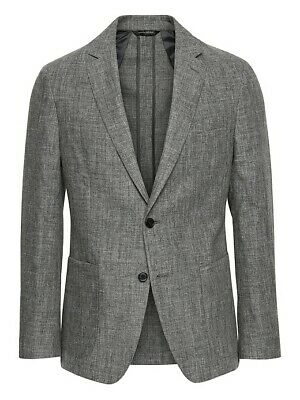 NWT Banana Republic Slim Linen Suit Jacket Distressed Grey 44 R #427519 2019