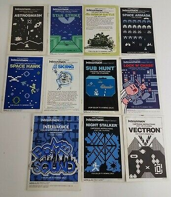 Lot of 11 Retro Intellivision Game Instruction Manuals Videogames Console Arcade
