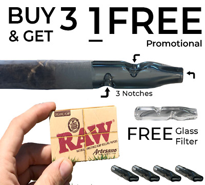 Glass Joint Filter Smoking Pipe Great Airflow 3 Knotches Raw Papers Herb Tobacco