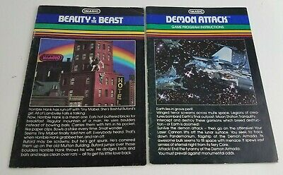 Lot of 2 Imagic Video Game Instruction Manuals Beauty and the Beast Demon Attack