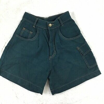 Vtg 90s Mom Jean HIGH WAISTED Denim Shorts Green Pleated Cargo Size 3 California