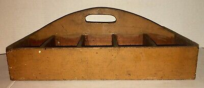 BEAUTIFUL Antique OLD Paint Tray Dovetailed Butternut Yellow Painted Divided