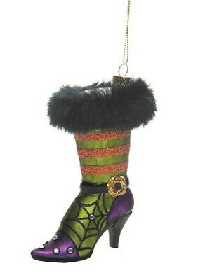 Gallerie Ii Witchy Grn Stiletto Fancy Witch Shoe Glass Halloween Xmas Ornament