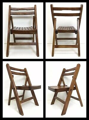 Nice 40s-50s Antique Wooden Folding Child's Chair Wood Slat Seat  - Doll