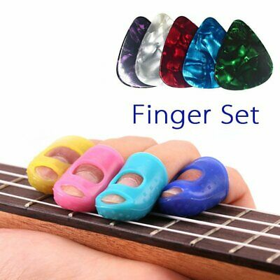 Finger Set Guitar Fingertip Protector Picks Silicone Guard Plectrum Bass Ukulele