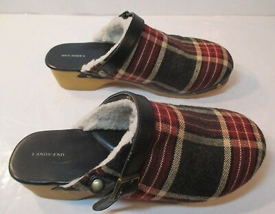 LANDS' END Clogs girls size 3 Navy, Red & White Plaid Fabric w/Fleece Lining VNC