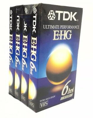 Lot of 4 TDK ultimate performance E-HG VHS TAPE 6 hours Extra High Grade Sealed