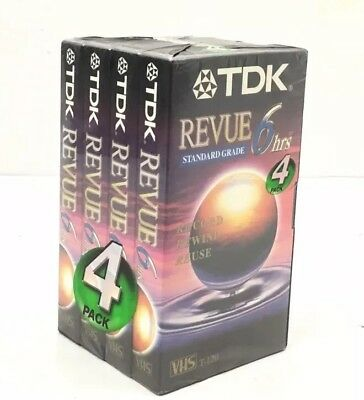 4 TDK VHS Tapes Blank VCR Tapes T120 Revue Premium Quality 6 hours New Sealed