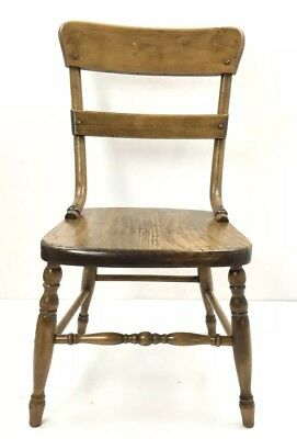 Antique Child Ladderback 2 Wood Slats Chair Sturdy Unique Hardware Well Crafted