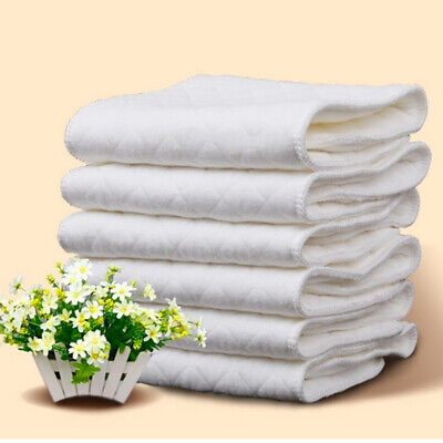 10PCS Cotton Cloth Baby Diapers Inserts Liners 3 Layers Reusable
