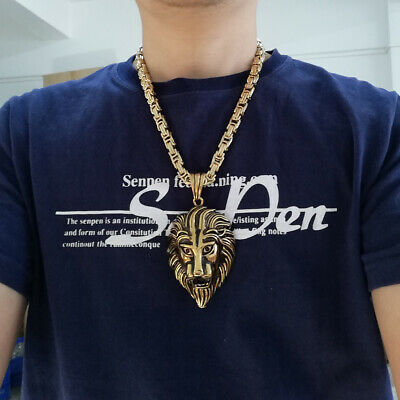 Mens Full Gold Stainless Steel Heavy Byzantine Necklace Large Lion Head Pendant
