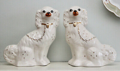 A Kindly Pair of Vintage Staffordshire Spaniels or Wally Dogs, Tan Snout, Gilded