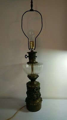 """Antique Vintage Pressed Glass and Fancy Brass Base Victorian Table Lamp 33"""" tall"""