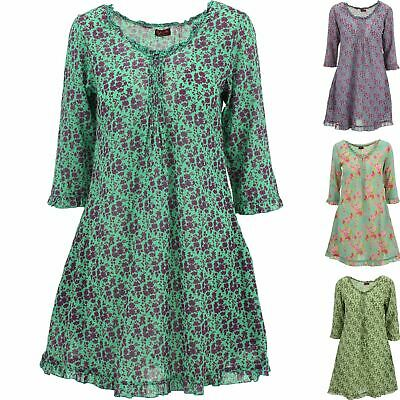 TUNIC DRESS GYPSY RUFFLE SMOCK HIPPIE BOHO FLORAL PEASANT by Gabrielle Parker