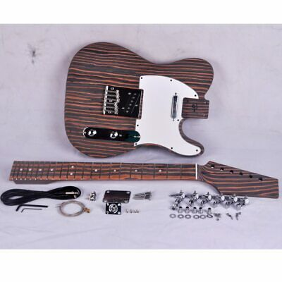 Electric Guitar DIY Project Kit Set - Tele Guitar - Zebrawood Body and Neck