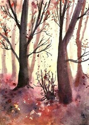 ACEO Autumn Fall painting original Wood trees landscape watercolour art card
