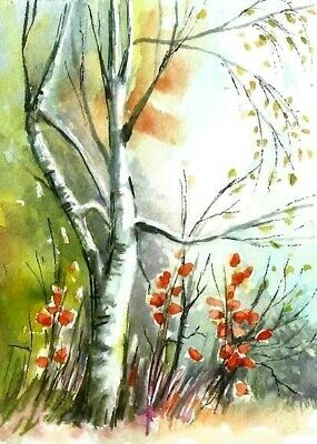 ACEO Autumn birch Fall trees painting original landscape watercolour art card