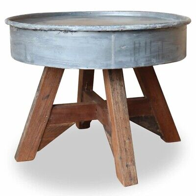Industrial Coffee Table Reclaimed Wood Rustic White Steel Retro Handmade Vintage