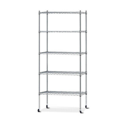 90cm 5 Tier Metal Wire Rack Shelving Unit Storage Shelves Racks Kitchen Trolley