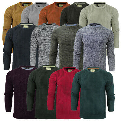 Mens Jumper Knitted Crew Neck Fishermans Rib Knit By Brave Soul