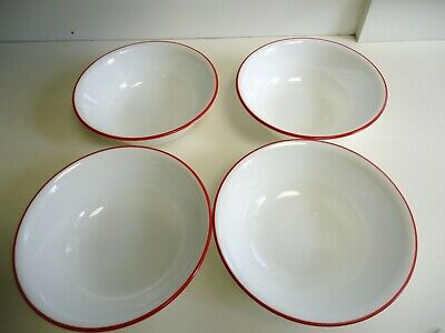 "Lot of 4 Corelle Cereal Soup bowls White with red trim 6-1/8"" Splendor 18 ounce"