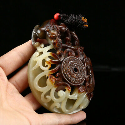 "4"" China old 100% Natural handcarved hetian jade tiger statue Pendant"