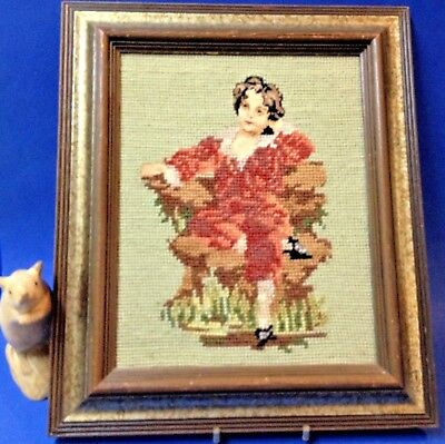 """Framed """"Red Boy"""" Tapestry,  28 x 33cm - after Painting: Master Lambton, 1829"""
