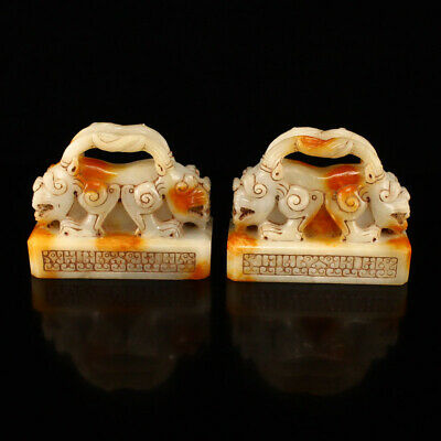 """3"""" A pair China old Natural handcarved hetian jade double beast statue seal"""