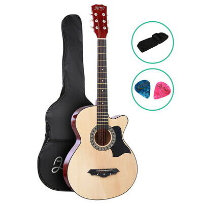 "ALPHA 38"" Inch Acoustic Guitar Wooden Folk Classical Cutaway Strings Bag Natural"