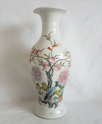 Antique Chinese Early 20th Century Famille Rose Porcelain Vase/ Pomegranate Tree
